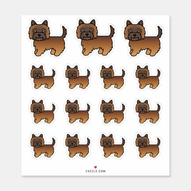 Red Brindle Cairn Terrier Cute Cartoon Dogs Sticker Zazzle Com