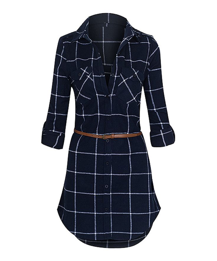Look at this Navy & White Long-Sleeve Belted Flannel Dress on #zulily today!