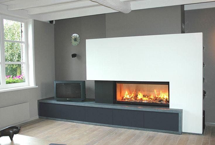 chemin e avec foyer bois design. Black Bedroom Furniture Sets. Home Design Ideas
