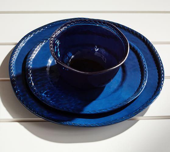 Rope Outdoor Dinnerware, Indigo | Pottery Barn