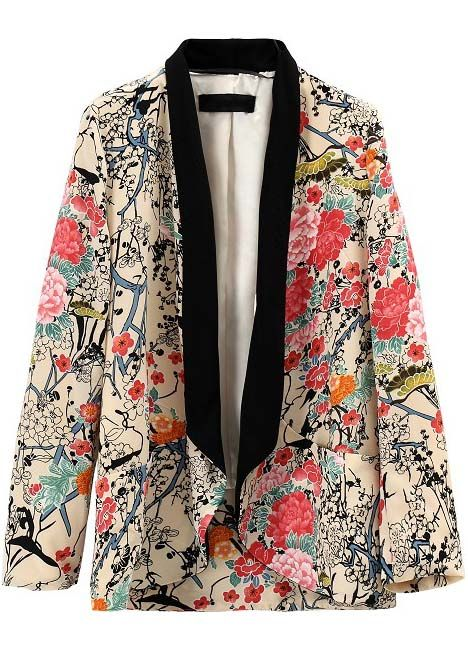 Apricot Contrast Collar Long Sleeve Floral Blazers - Fashion Clothing, Latest Street Fashion At Abaday.com