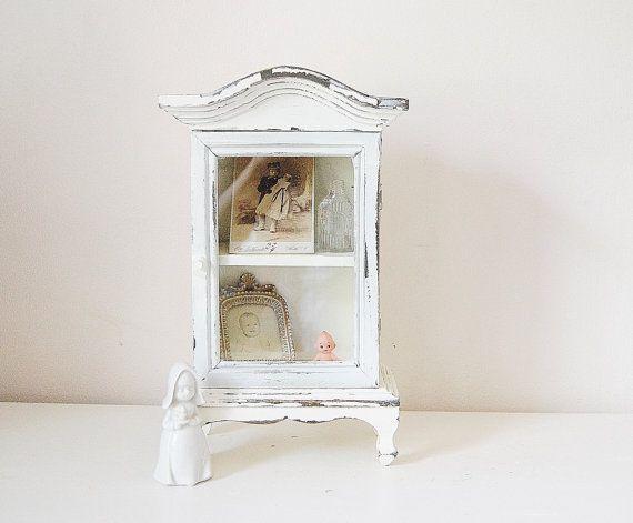Small Curio Cabinet White Vintage Cottage Decor Shrine