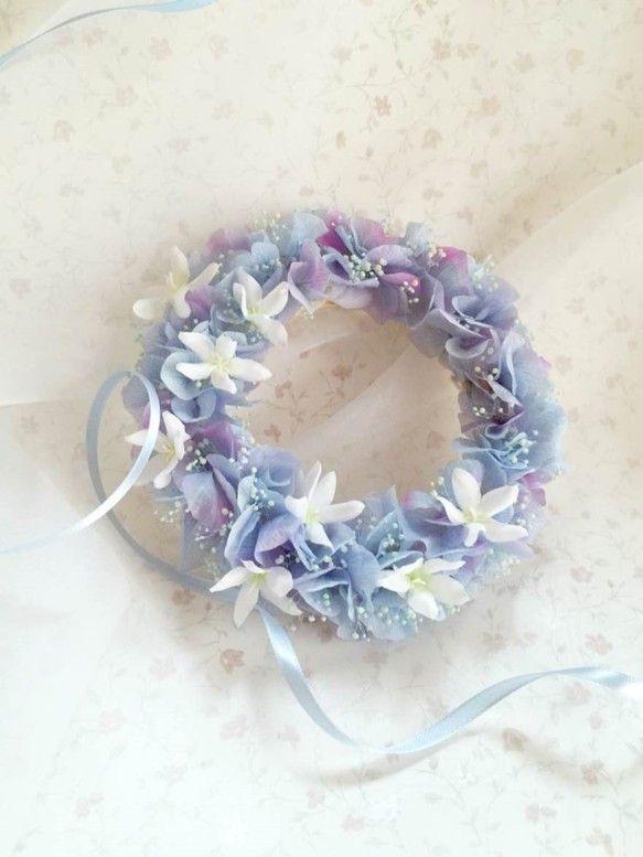 ブルーロゼ・紫陽花リース|フラワー・リース|工房 月|ハンドメイド通販・販売のCreema