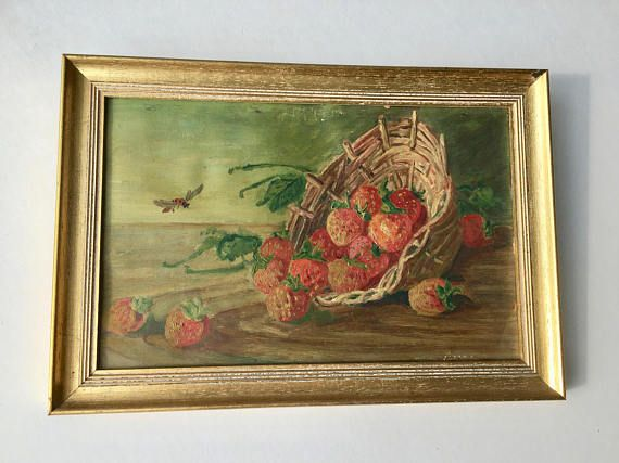A small painting featuring strawberries and insects. A classic still life, Europe, XIX Century.  The made to measure frame is included, the painting is ready to hang.  Measures with frame: 12 x 8.2 inches (30,5 x 21 cm).  Another painting by the same artist and with the approximate