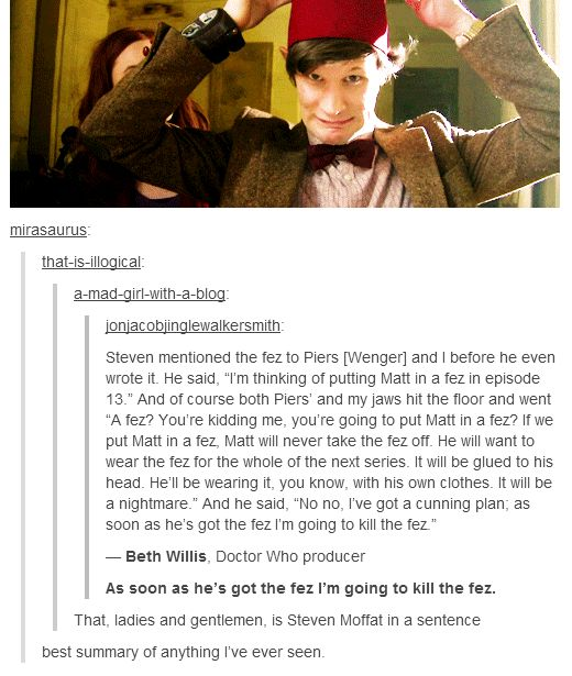 Steven Moffat wrecks everyone's life, including Matt Smith's...and we love him for it, so who's crazier? :/