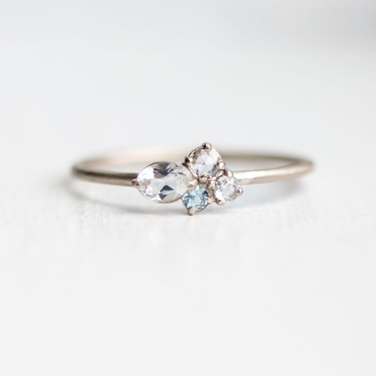 To the Moon and Back Mini Cluster Ring with Aquamarine, Moonstone, and Rose Cut White Diamond