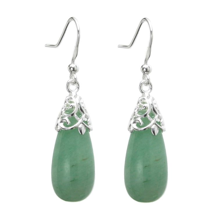 Queenberry Sterling Silver Natural Aventurine Teardrop Dangle Filigree Flower French Hook Earrings: