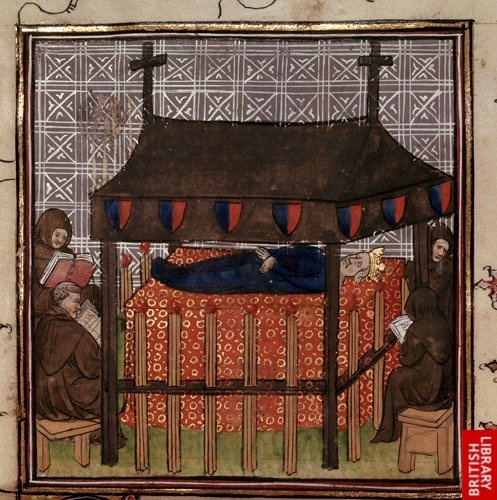 Detail of a miniature of the funeral of Jeanne, queen of France and Navarre. France, Central (Paris). At the age of 10 (based on the date of birth above), Joan married the future Philip IV of France on 16 August 1284, becoming queen of France a year later. Their three surviving sons would all rule as kings of France, in turn, and their only surviving daughter, Isabella became queen consort of England. Queen Joan founded the famous College of Navarre in Paris.
