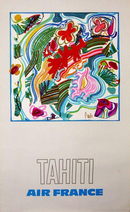 air france tahiti - 1971 - affiches anciennes de PAGÈS Raymond