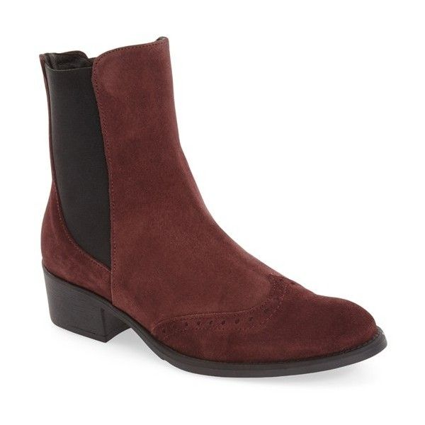 Women's Toni Pons 'Trieste' Chelsea Boot (240 AUD) ❤ liked on Polyvore featuring shoes, boots, ankle booties, burgundy suede, suede ankle booties, brogue chelsea boots, brogue boots, burgundy suede booties and suede chelsea boots