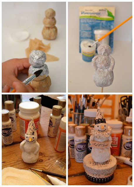 *Jennuine by Rook No. 17*: Vintage Folk Art Style Paper Mache Snowman Tutorial