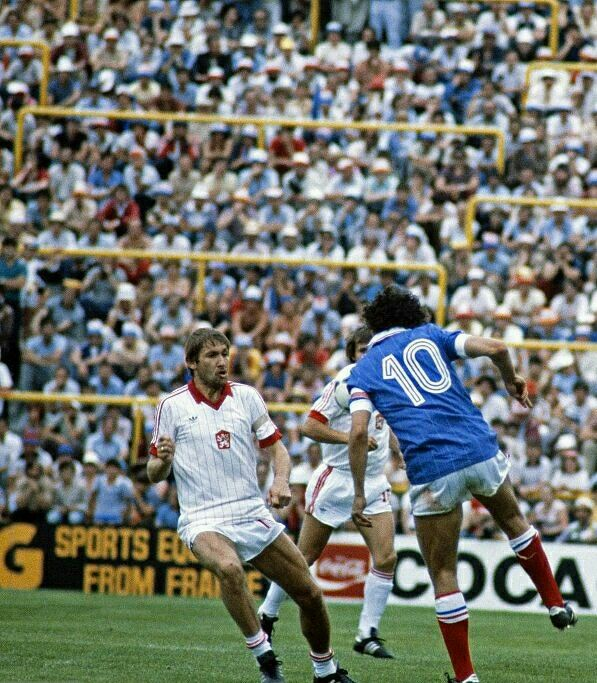 France 1 Czechoslovakia 1 in 1982 in Valladolid. Michel Platini brings the ball under control in Group 4 at the World Cup Finals.