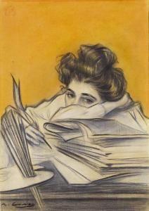 Ramon Casas Y Carbo - Skizze Zum Titelblatt Der Zeitschrift Pel & Ploma