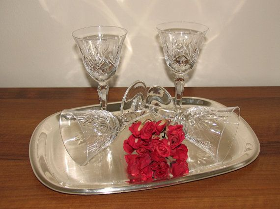 Wonderful Roman glasses of wine glasses of crystal glass 70 Mid Century annual wine and champagne glasses Made in Germany