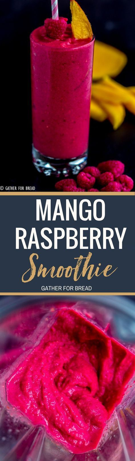 Mango Raspberry Smoothie - How to make thisnutritiousmango smoothie with berries and tropical flavors. It's the perfect healthy way to go. Deliciousand smooth, made without yogurt!