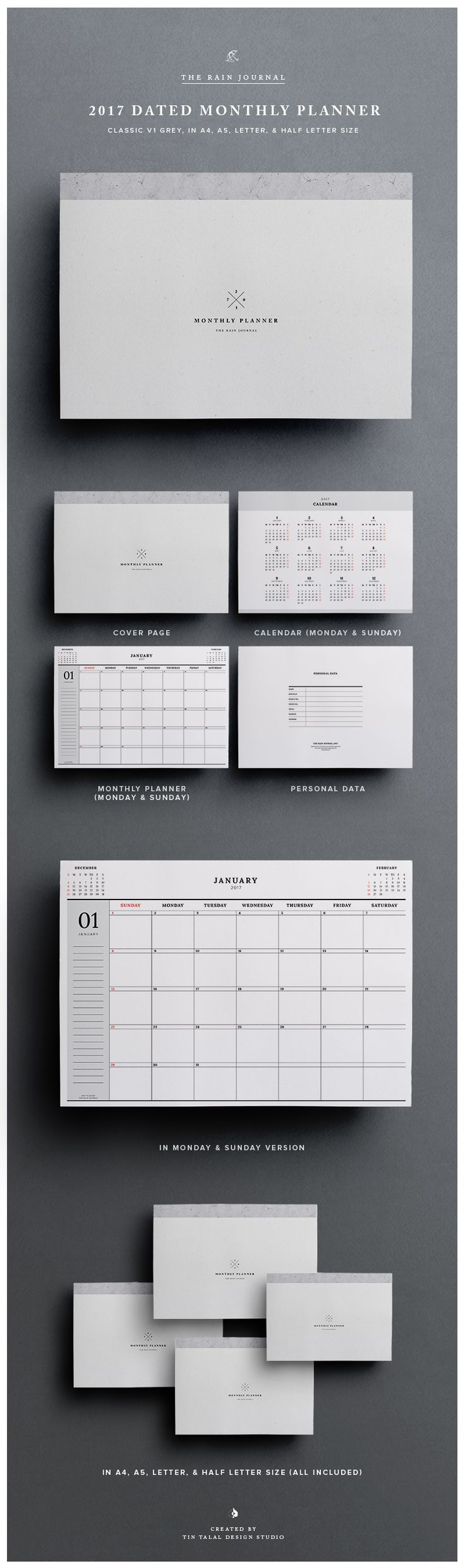 2017 Dated Monthly Planner with Annual Calendar - Monday & Sunday Start Included. Desk Planner, Wall Planner, Wall Calendar, Desk Calendar