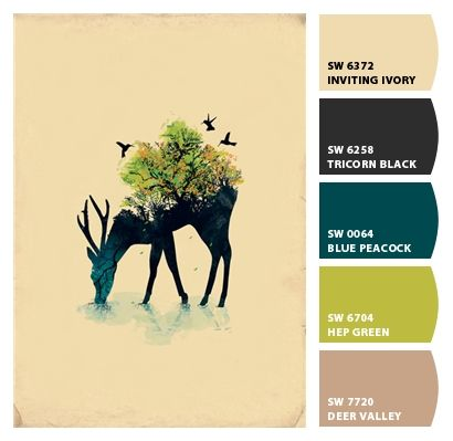 ivory, teal, chartreuse, black | Paint colors from Chip It! by Sherwin-Williams