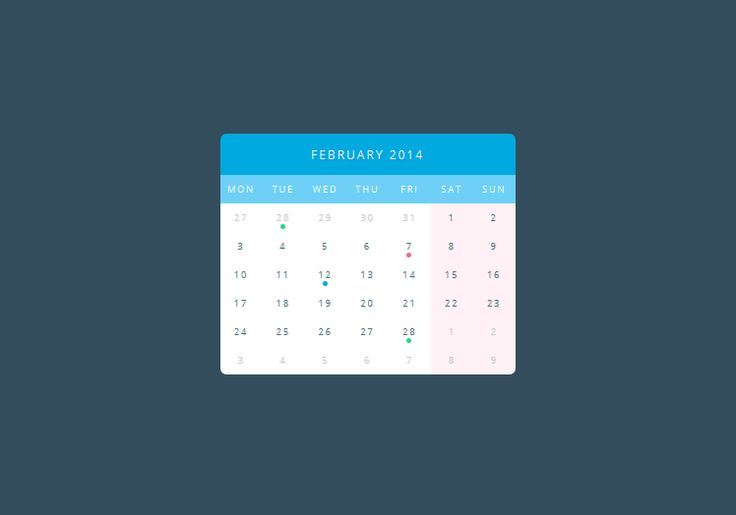 pure css3 calendar calendar code css css3 flat html html5 resource snippets. Black Bedroom Furniture Sets. Home Design Ideas
