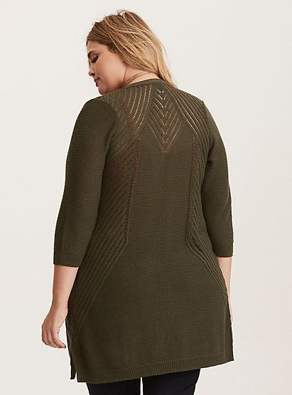 Pointelle Back Open Front CardiganPointelle Back Open Front Cardigan,