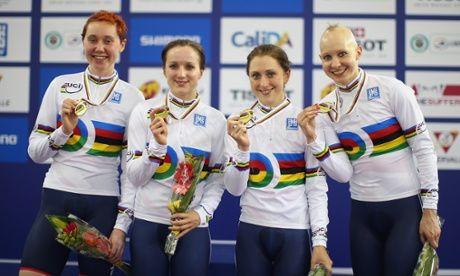Katie Archibald, Elinor Barker, Laura Trott and Joanna Rowsell show off their medals.