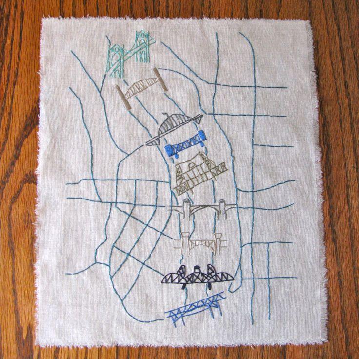 Stitched map of bridges of Portland