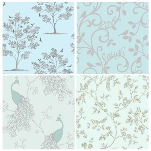 TEAL DUCK EGG WALLPAPER – DESIGNS BY FINE DÉCOR – OWL, PEACOCK, SCROLL ,TREE #PriceRightHome