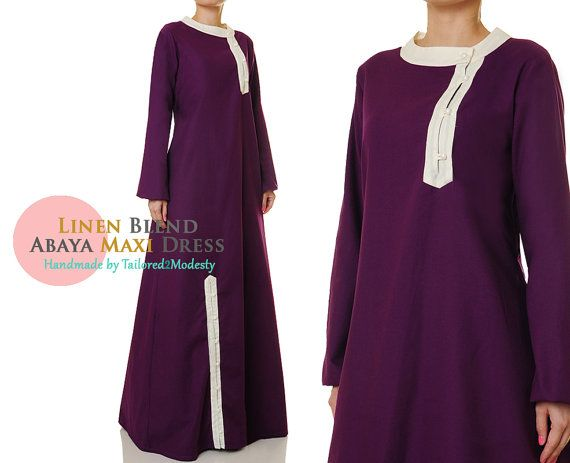 Purple Linen Blend Buttoned Long Sleeves Abaya by Tailored2Modesty