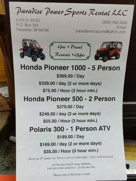 Check out http://paradiserecsport.com!  Paradise Recreational Sports offers ATV rentals. If you dare, you can GET DIRTY.  Rental fees include ATV Rental Insurance, Beverages, Meal, Helmet & Goggles.  One and two-person ATV's available.  Pickup & Delivery Available, Rentals & Tours... your choice.