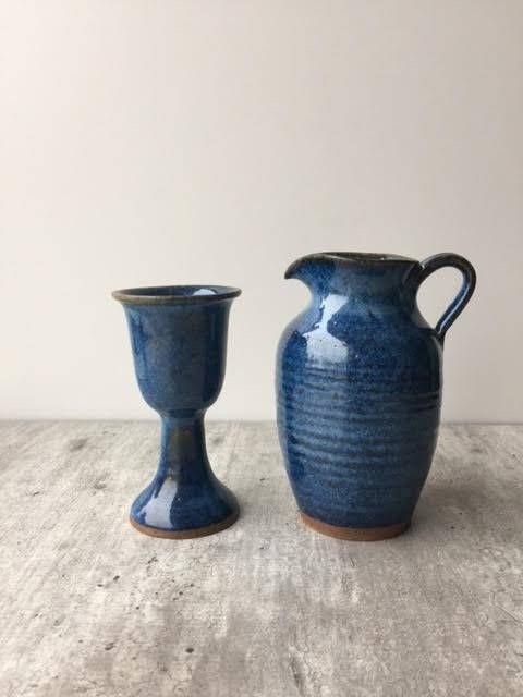 Ceramic Wine Goblet Blue With Mathing Ceramic Wine Carafe