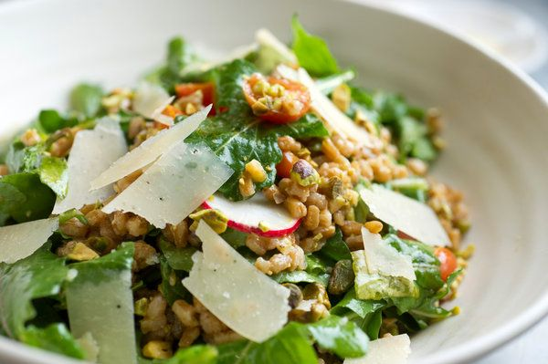 There are two essential steps to a stellar farro salad. The first is cooking the farro with enough salt and aromatics so that it delicious before you combine it with the rest of the ingredients. The second is to use very good olive oil in the dressing. (Photo: Evan Sung for The New York Times)