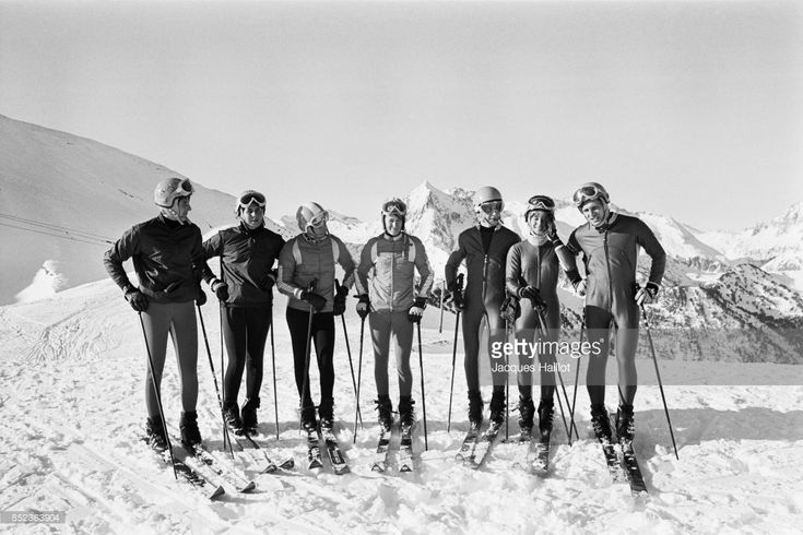 Christine Goitschel, Marielle Goitschel, Isabelle Mir, Marie-France Jeangeorges, Jean-Pierre Auger, Ingrid Lafforgue, and Georges Mauduit of the French ski team.