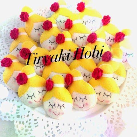 ♥ Tiryaki Hobi ♥: Keçe bebek şekeri / doğumgünü magneti - topuzlu kız (ELİF RANA)