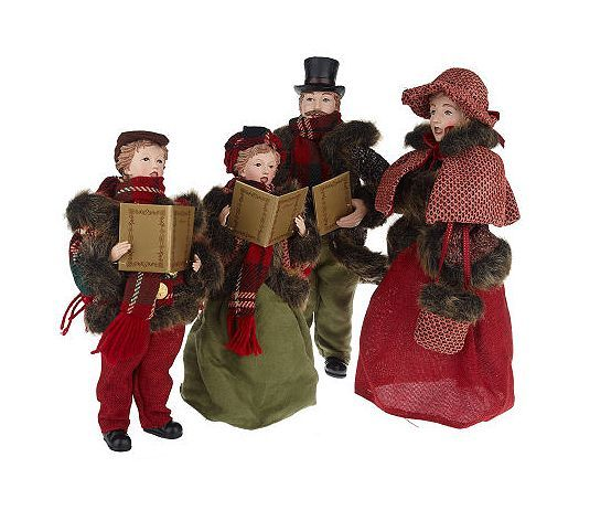 Singing Carolers Candleholders Figurines Vintage By: 4-Piece Dickens Family Carolers By Valerie Parr Hill