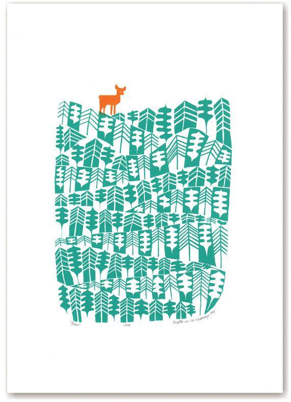 Cerf limitée sérigraphie à tirage - forêt verte et orange