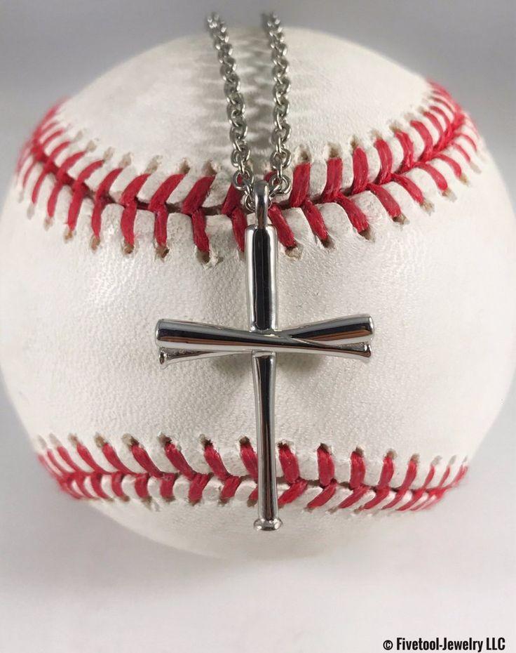 Fivetool jewelry baseball bat cross pendant and chain at