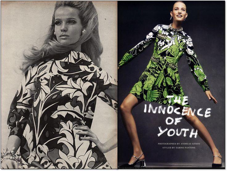 Слева: Vogue. Март 1967 г. Модель: Верушка (Veruschka). Фотограф: Франко Рубартелли (Franco Rubartelli). Справа: Vogue. Япония. Февраль 2015 г. Модель: Мартье Верхоеф (Maartje Verhoef). Фотограф: Андреас Сьодин (Andreas Sjodin). #fashion #fashioninspiration #style #60s #1960s #SperanzaFirsace