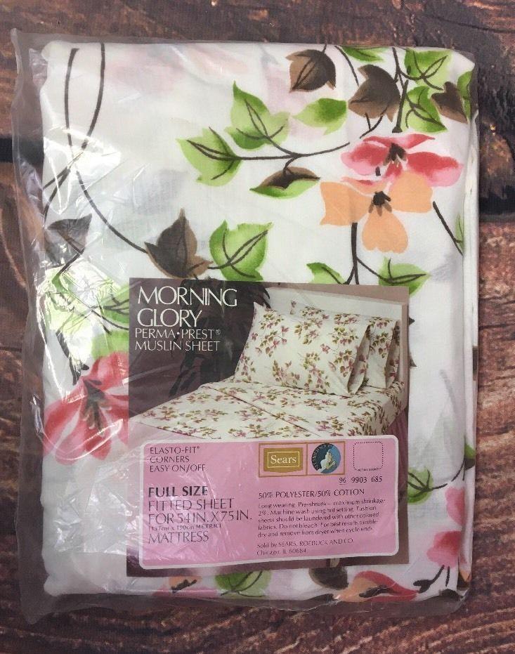 Vintage Sears Morning Flory Floral Fitted Bed Sheet Pink Green Cottage New  | eBay #vintage #sheets #vintagelinens #linens #vintagesears