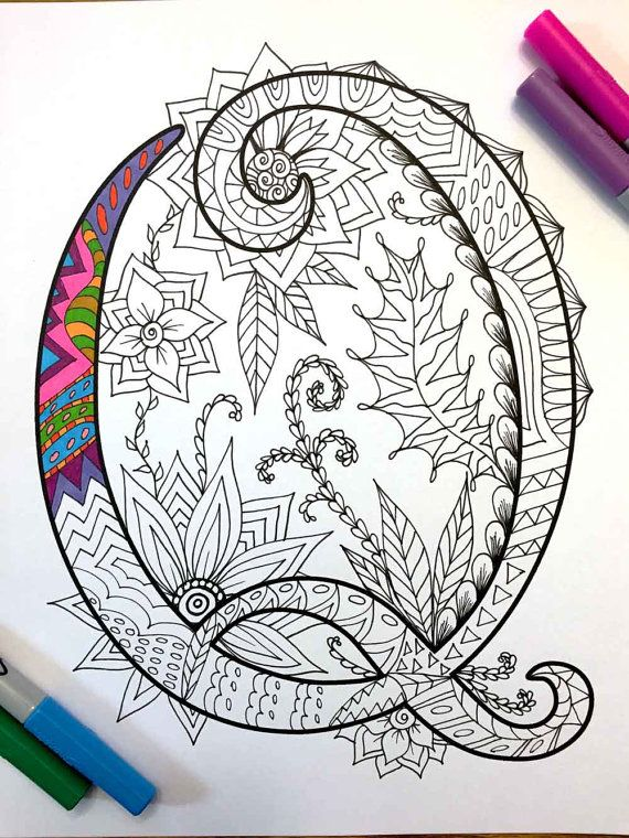 Letter Q Zentangle Inspired by the font Harrington por DJPenscript