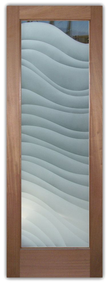 Glass Doors with Etched Glass Sandblast Etching Wavy Shapes Dreamy Waves Modern Style
