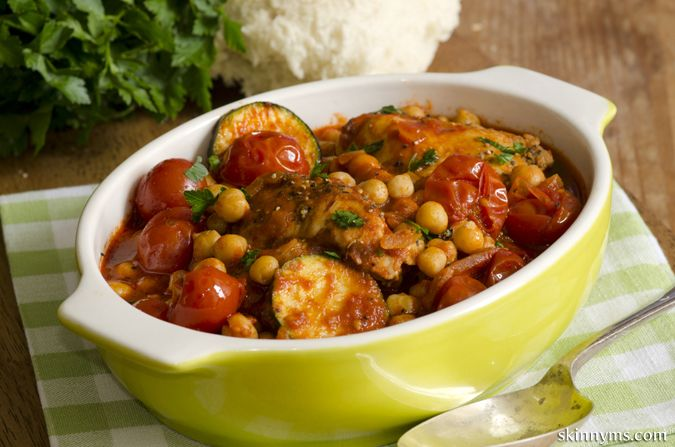 This Slow Cooker Moroccan Chicken with Chickpeas recipe brings together the best of Moroccan flavors and fresh ingredients. #skinnyms, #chicken, #slowcooker