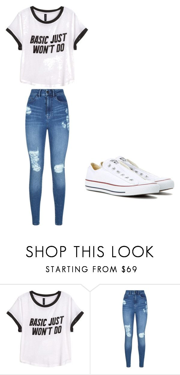 """School "" by rhein03 ❤ liked on Polyvore featuring H&M, Lipsy and Converse"
