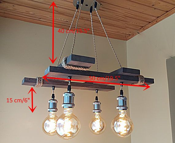 Rustic Light Fixture - Hanging Light - Rustic Lighting - Industrial Pendant Light - Wood Chandelier - Rustic Light - Farmhouse Light -Dining IMPORTANT: Pictured LED bulbs voltage is 220V, for the customers from US, LED bulbs are not suitable because of voltage (120V required),