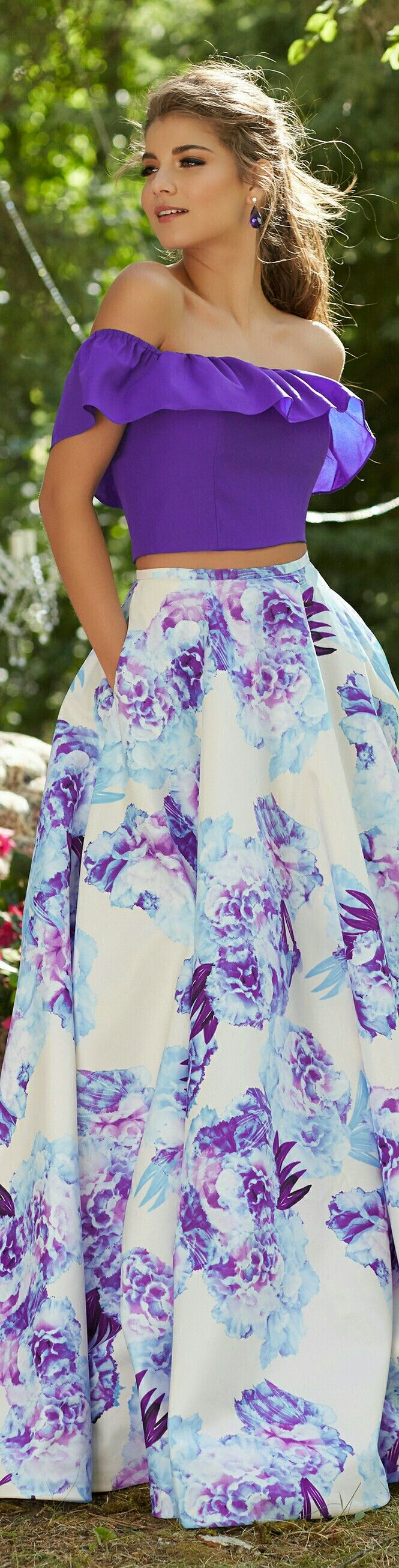 MORI LEE for MGNY | In White w. Purple & Baby Blue Flowers on Taffeta Flowing Skirt and Purple Ruffled Off-Shoulders Halter Top, 2-Piece | #99045.