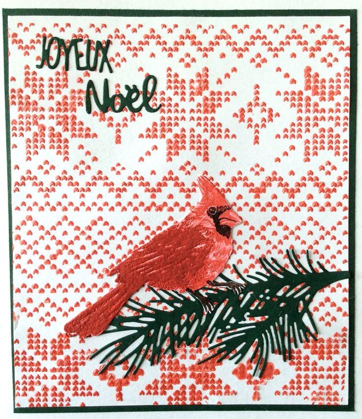 Carte de Noël, cardinal: tampon Hero Art, stencil de fond: Carta Bella  - Nov.17