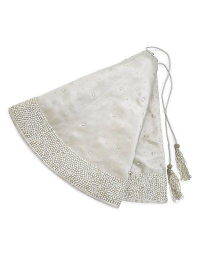 sudha pennathur silver tissue tree skirt sakscom - Silver Christmas Tree Skirt