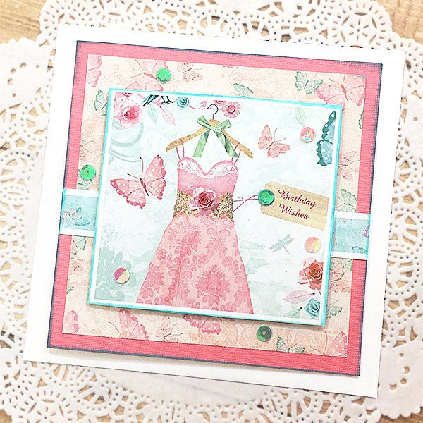 """Pretty in Pink Birthday Wishes Greeting, Note Card, Dress, Butterflies, Girl, Sparkle, Happy, Sweet 16, Quinceañera, Joy, Fun - 5.5"""" square by PaperDahlsLLC on Etsy"""