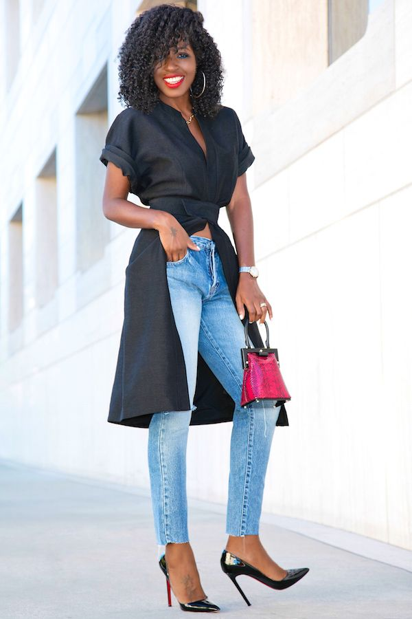 Style Pantry | Short Sleeve Kimono Jacket + Ripped Ankle Length Jeans