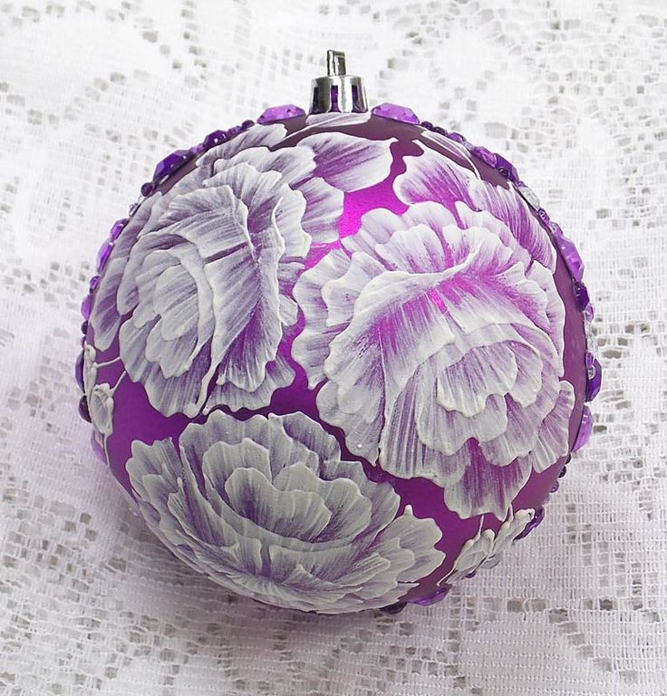 Elegant Purple Hand Painted 3D MUD Roses Ornament with Bling (LG) 340 by MargotTheMUDLady on Etsy