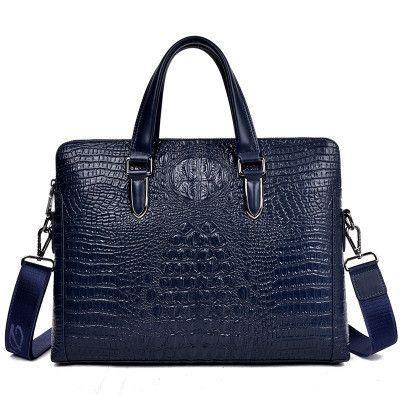 Luxury Alligator Pattern Brand Designer Men Leather Bag Fashion Shoulder Crossbody Bag Laptop Bag Classic Men Business Briefcase