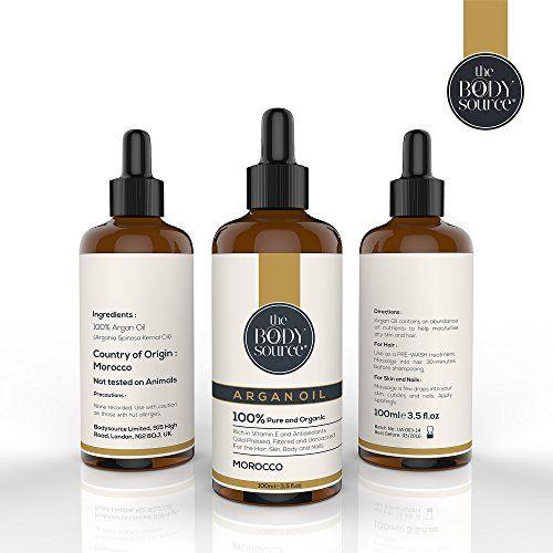 Huile d'argan pure - 100 % certifiée biologique. 100 ml. Pour Cheveux Peau Corps Ongles